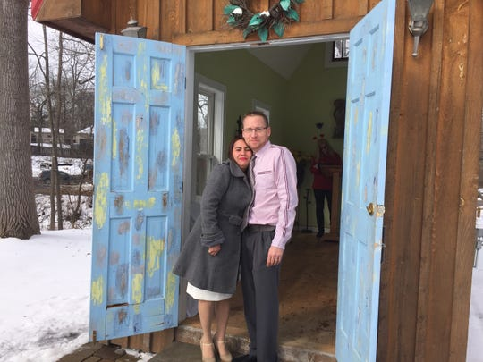 Newlyweds Maricel and David Riopelle step out of Hell's Chapel of Love after getting married on Valentine's Day, Thursday, Feb. 14, 2019