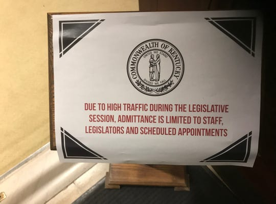 Gov. Matt Bevin is now refusing to allow uninvited guests into his outer office.
