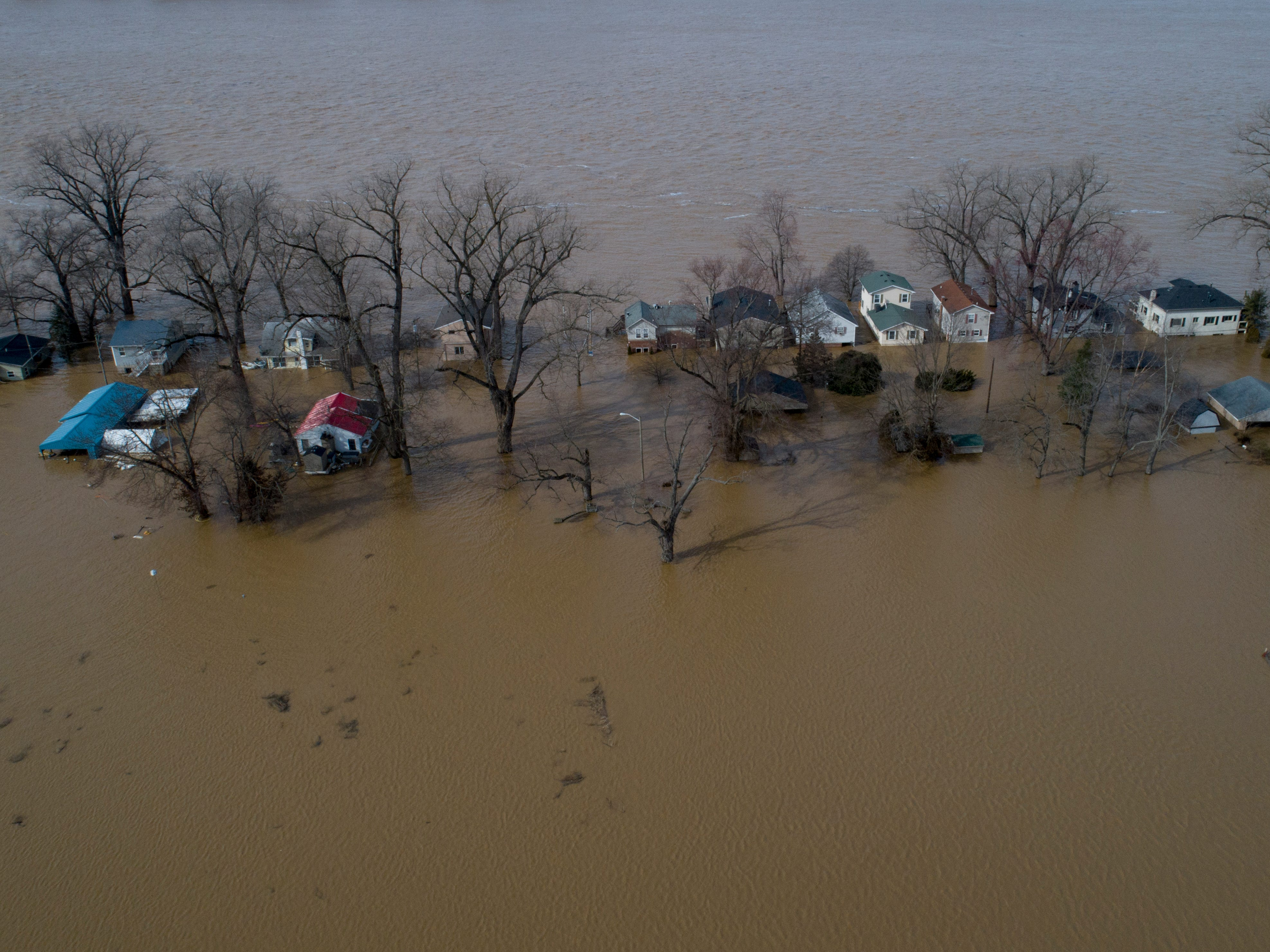 Flood waters surround the homes of Waldoah Beach Rd. on Wednesday afternoon. Feb. 13, 2019