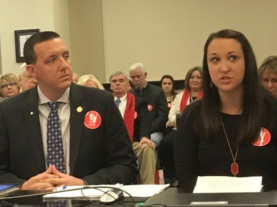 "Sen. Matt Castlen, R-Owensboro, and Claire Culwell of Austin, Texas, during the previous Senate hearing on the ""fetal heartbeat"" bill."