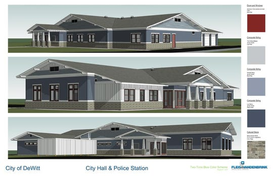 A rendering of the new DeWitt City Hall. The new 10,500-square-foot building is nearly double the size of DeWitt's existing city hall and police department on East Main Street, which dates back to 1956.