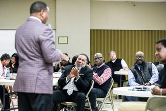 The community group Frayser Exchange is celebrating its 50th anniversary on Feb. 21, 2019. SCS interim Superintendent Joris Ray addressed the group on Feb 14.