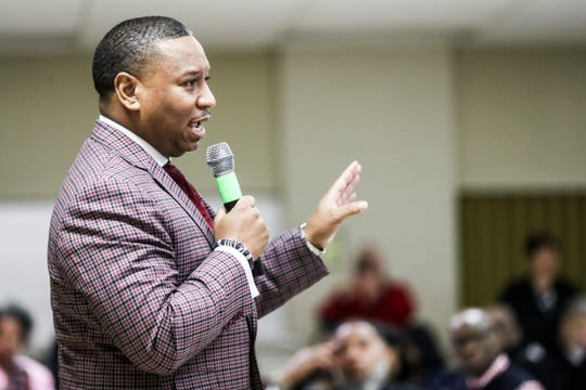 February 14, 2019 - Joris Ray, interim SCS superintendent, speaks during a Frayser Exchange meeting at Impact Church in Frayser on Thursday. The community group Frayser Exchange is celebrating its 50th anniversary on February 21st.
