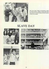 "A page from the 1968 Christian Brothers College yearbook shows photos from the ""Slave Day"" event."