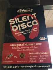 A poster for the silent disco that will be featured at the Express' season opener on Saturday.