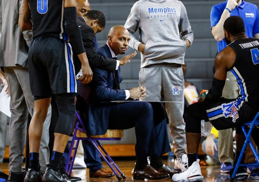 Memphis head coach Penny Hardaway directs his players during a break in action against ECU in Greenville, N.C. Wednesday, February 13, 2019.