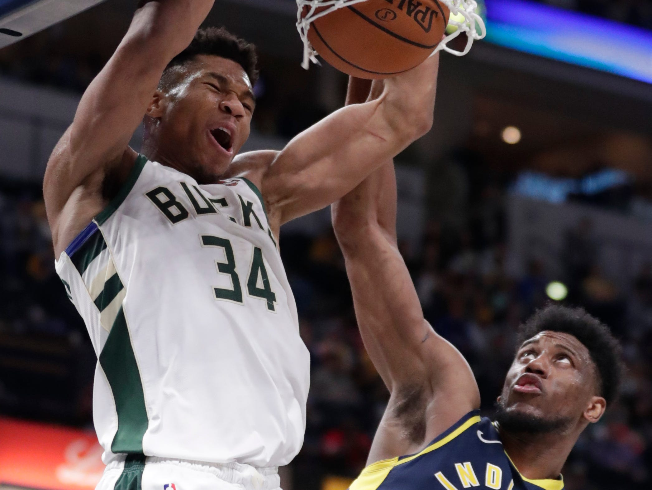 Bucks forward Giannis Antetokounmpo had his way against Thaddeus Young or whoever else the Pacers threw at him on Wednesday as the all-star captain finished with 33 points, 19 rebounds and 11 assists.