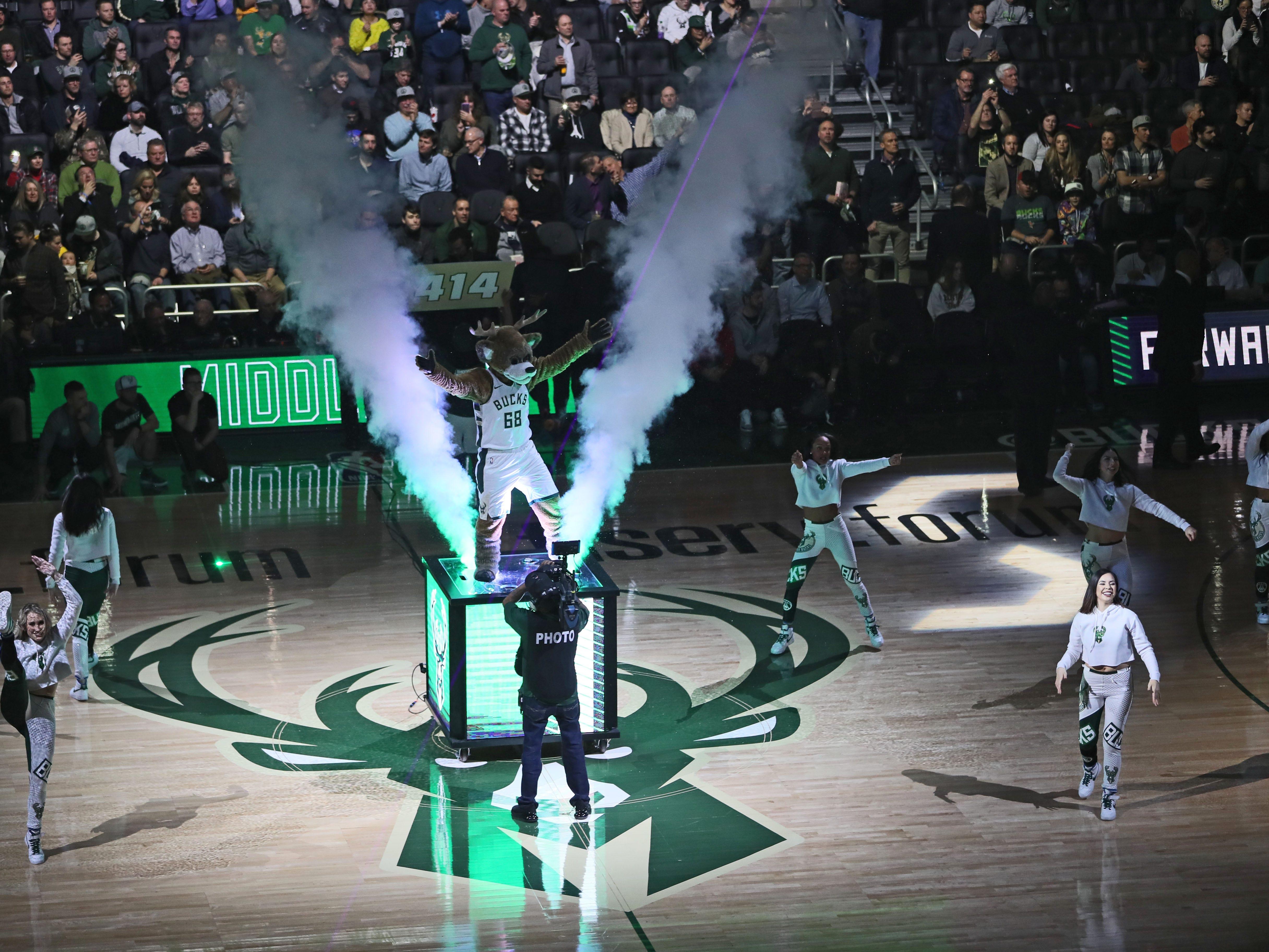 Bango and Milwaukee Bucks Dancers  fire up the crowd on Feb. 6.