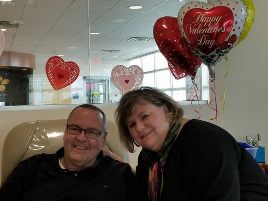 Jill and Tom Hoffer, Ann are all smiles on Feb. 14 after donating blood at the Blood Center of Wisconsin's Wauwatosa donor center.