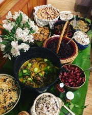 This Filipino inspired menu, with Wisconsin ingredients, was hosted by Leslie Damaso (Buttonhill Studios) and Eve Studnicka (Dinner at the Grotto) in Mineral Point this past January.