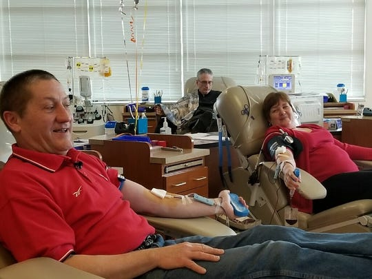 Dean DeWitt and his wife Ann DeWitt donated blood on Valentine's Day at the Blood Center of Wisconsin's Wauwatosa donor center.