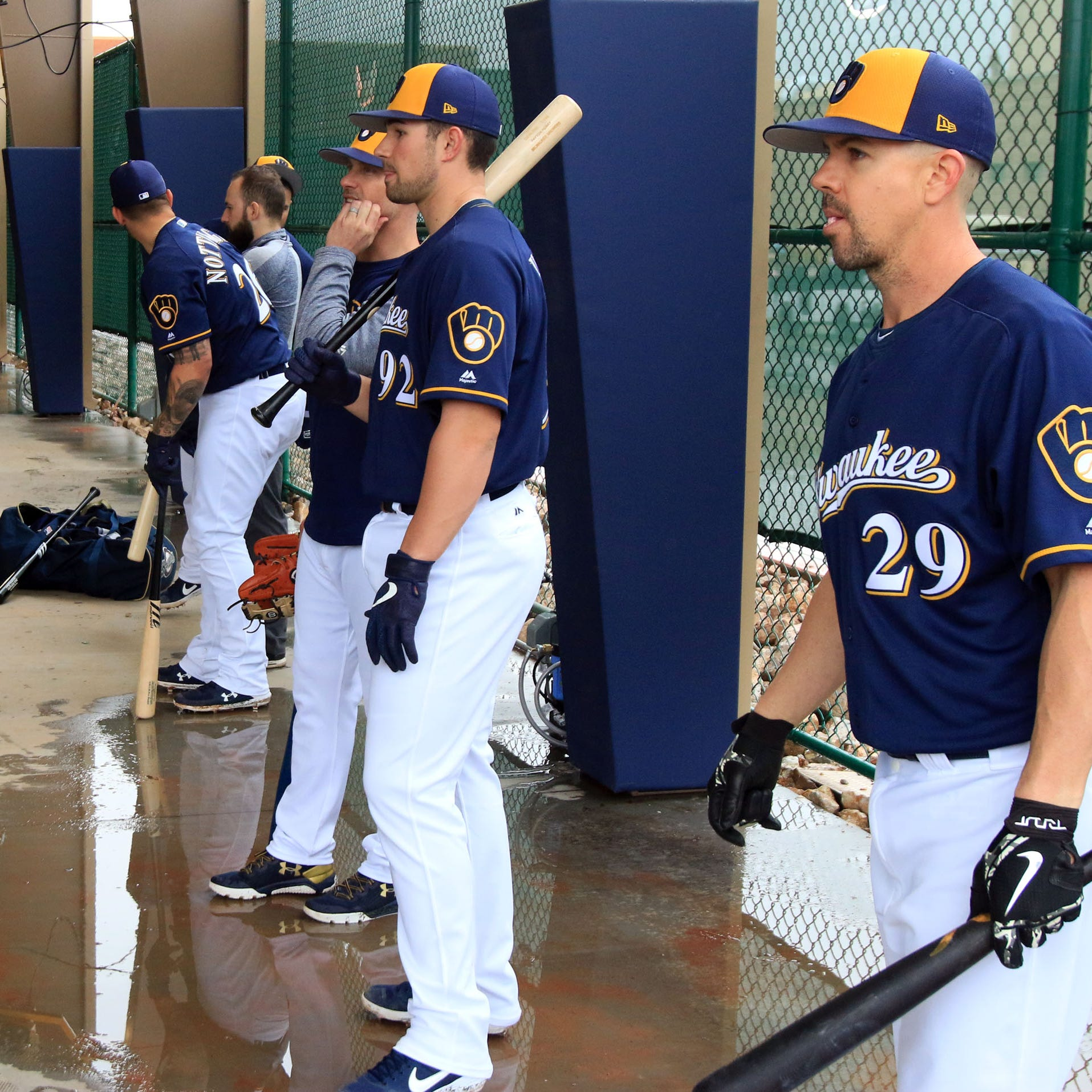 Camp report: First official workout for pitchers and catchers is a soggy one