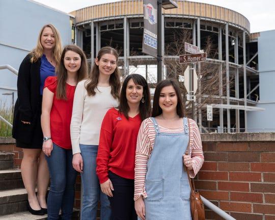 The Louisiana Tech RockOn team is (from left) Krystal Corbett, Allison Kumler, Abigail Phillips, Mary Caldorera-Moore and Tess Hamilton.