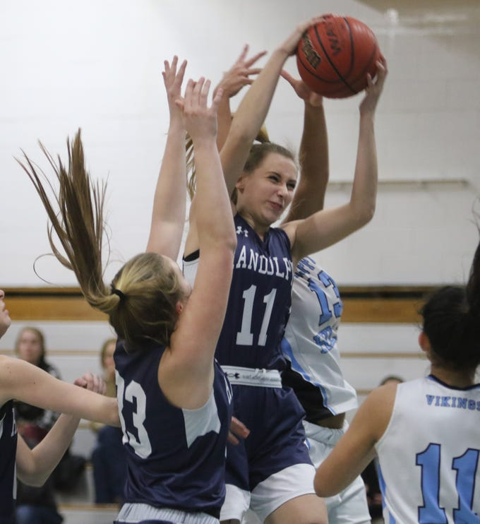 Randolph sophomore Petra Csanyi comes down with this first-half rebound.