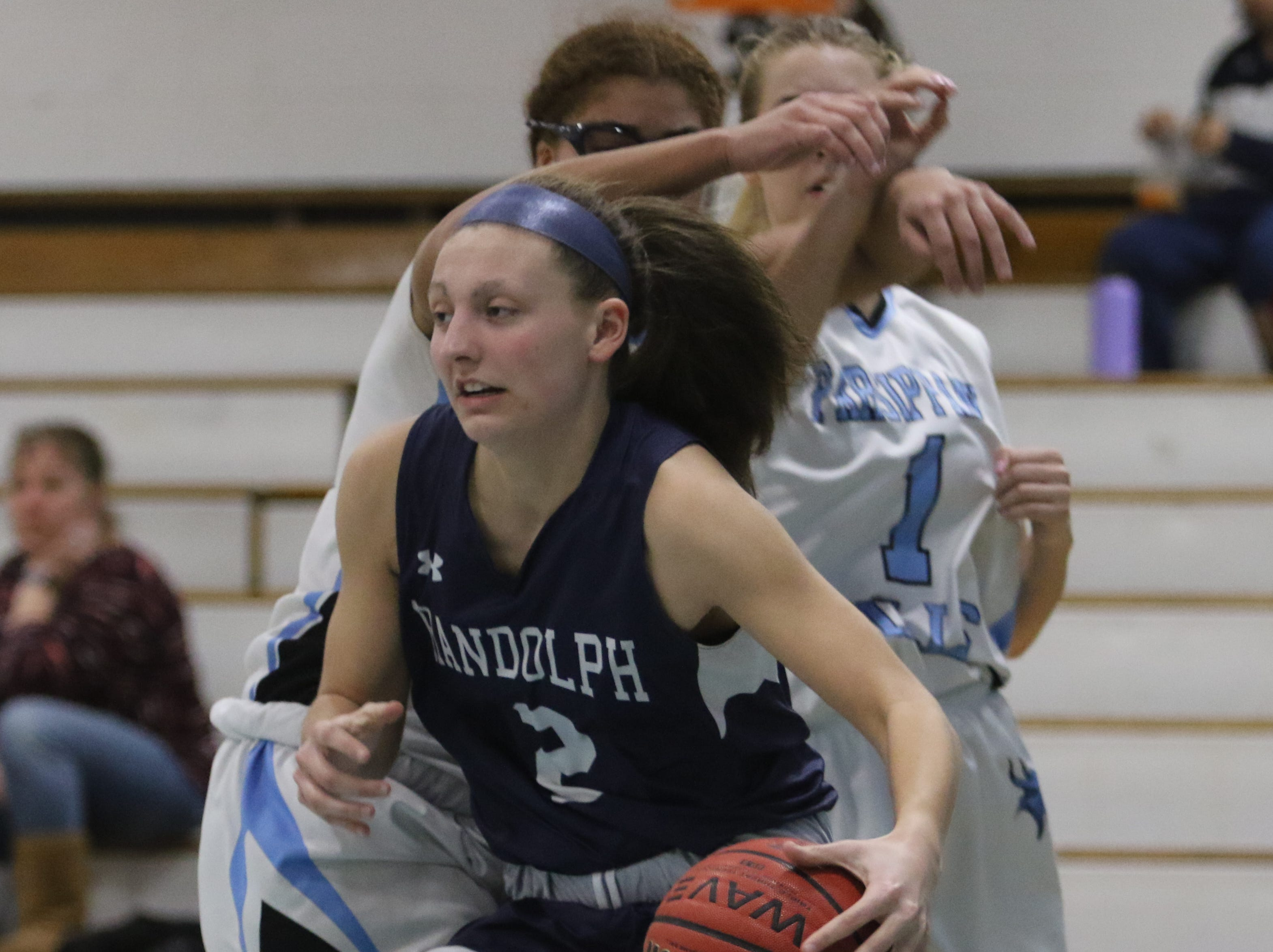 Alyssa Alfieri of Randolph controls the rebound in the second half.