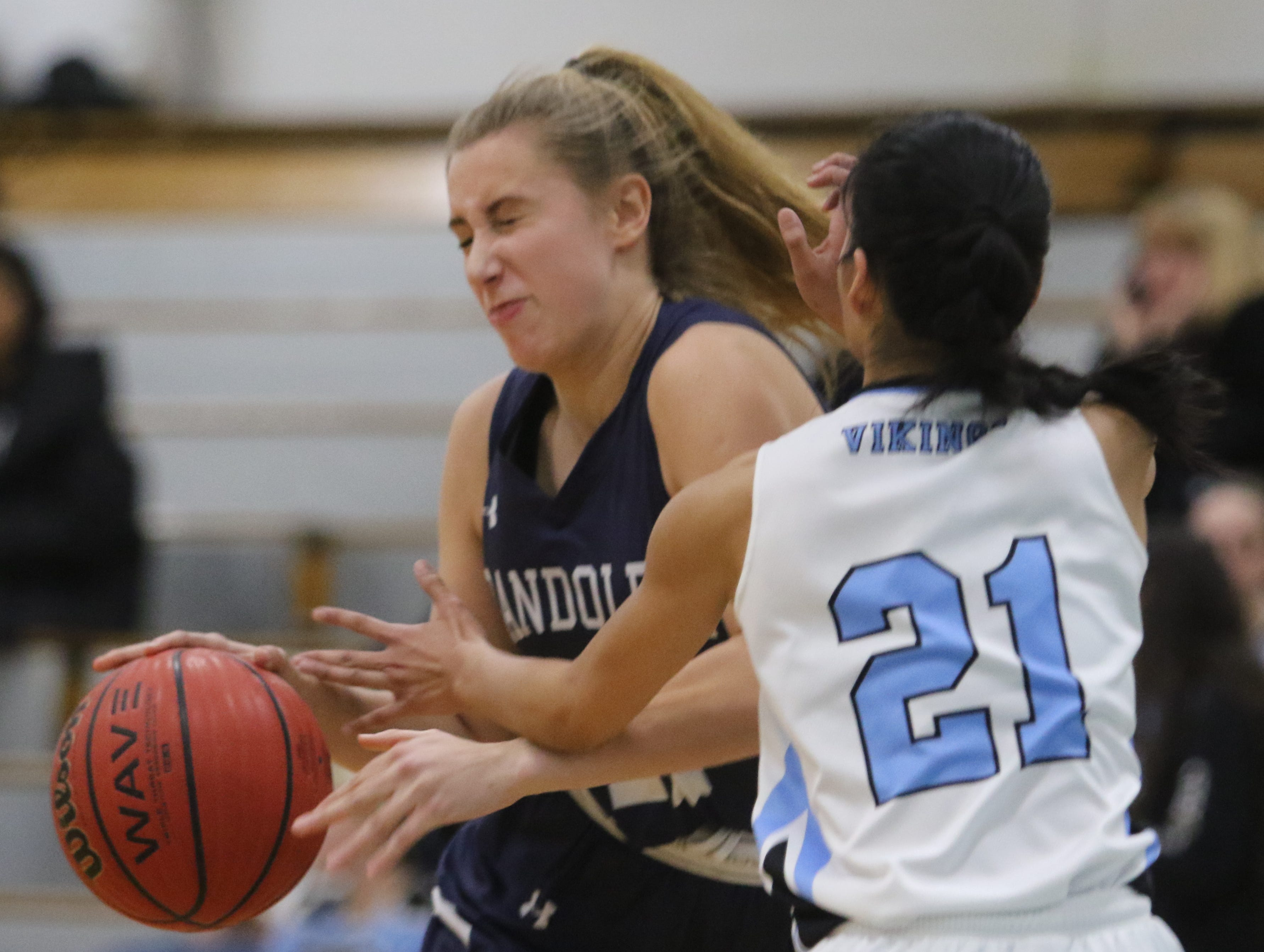 Randolph sophomore Petra Csanyi  collides with Corinne Diaz of Parsippany Hills in the second half.