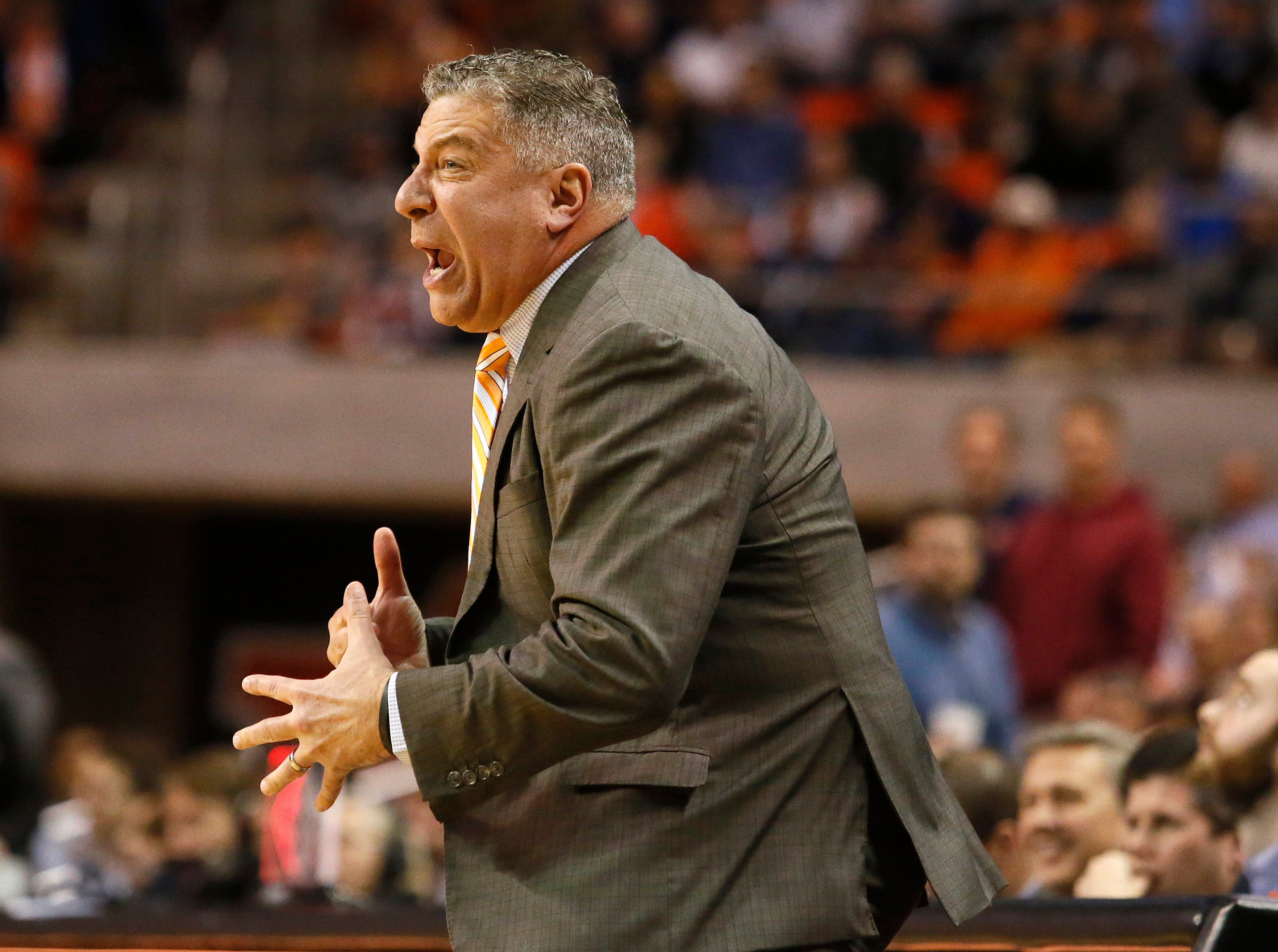 Feb 13, 2019; Auburn, AL, USA;  Auburn Tigers head coach Bruce Pearl reacts to a call during the second half against the Ole Miss Rebels at Auburn Arena. Mandatory Credit: John Reed-USA TODAY Sports