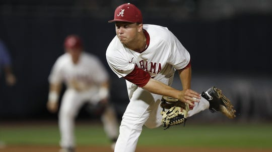 Alabama pitcher Sam Finnerty throws from the mound during a 2017 game against LSU inside Sewell-Thomas Stadium in Tuscaloosa, Alabama. (Photo courtesy of Alabama athletics)