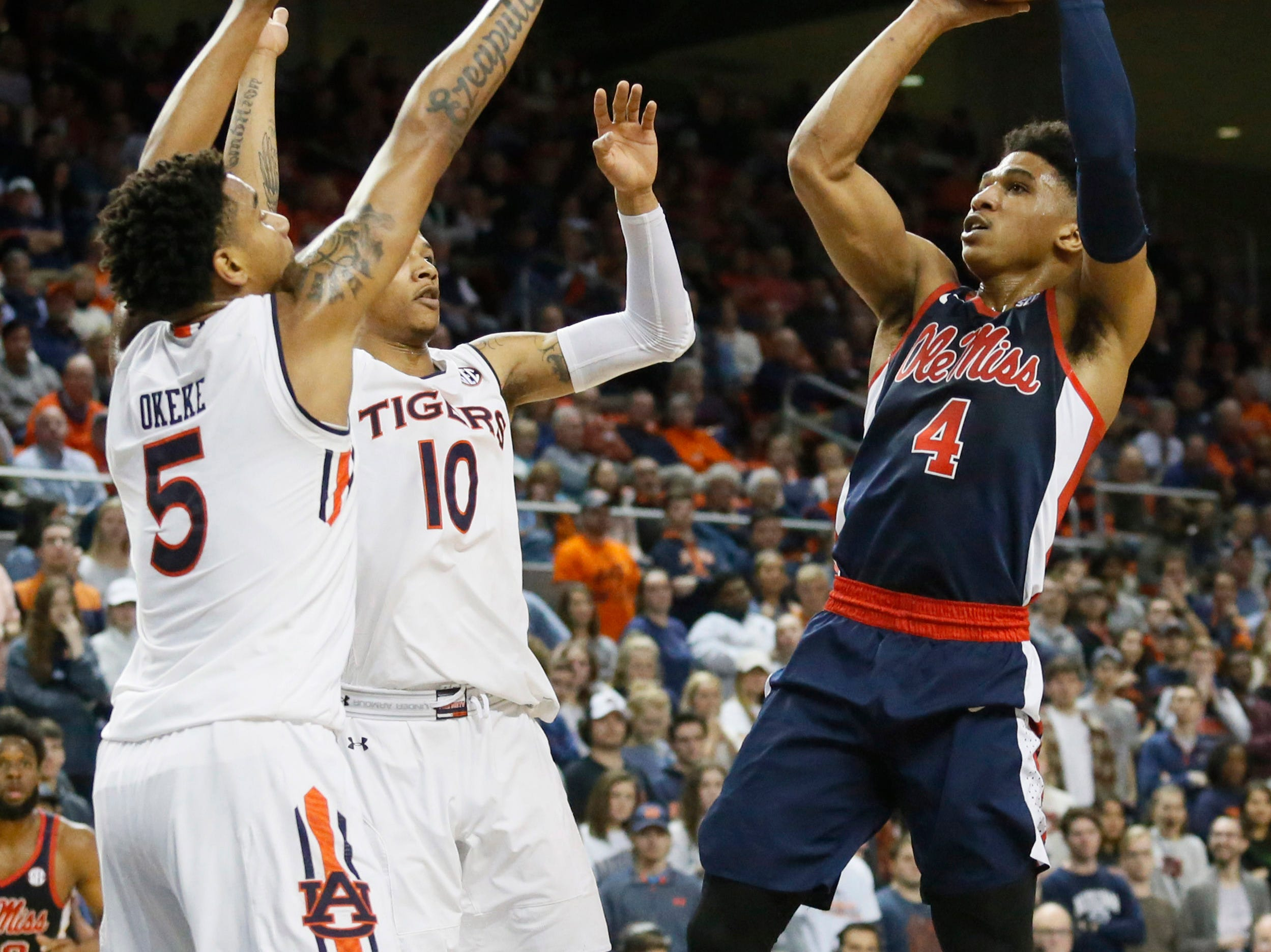 Feb 13, 2019; Auburn, AL, USA;  Ole Miss Rebels guard Breein Tyree (4) takes a shot against the Auburn Tigers during the first half at Auburn Arena. Mandatory Credit: John Reed-USA TODAY Sports