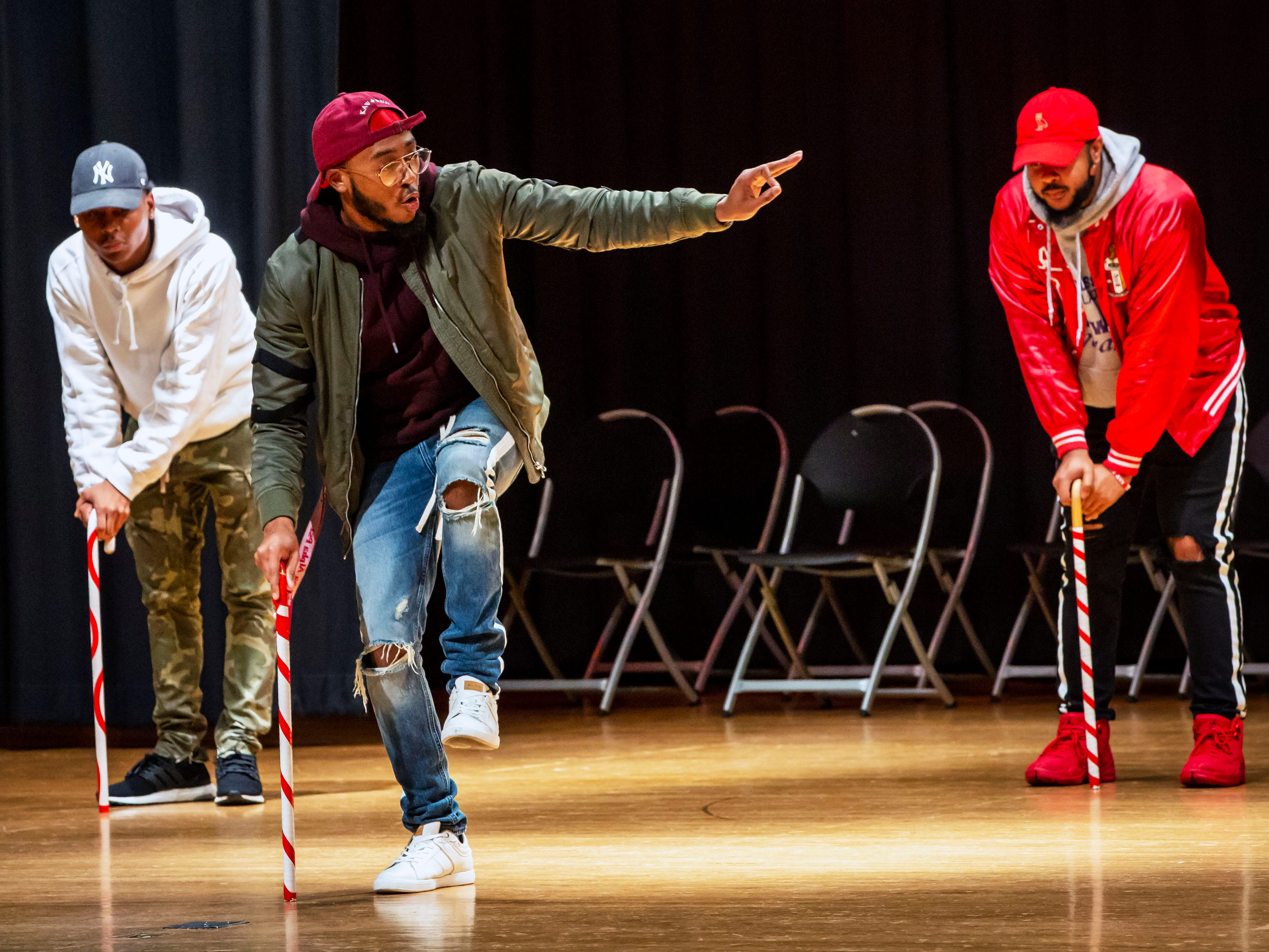 Members of the Kappa Alpha Psi fraternity from MTSU perform at the African-American Cultural Celebration held at Patterson Park Community Center.