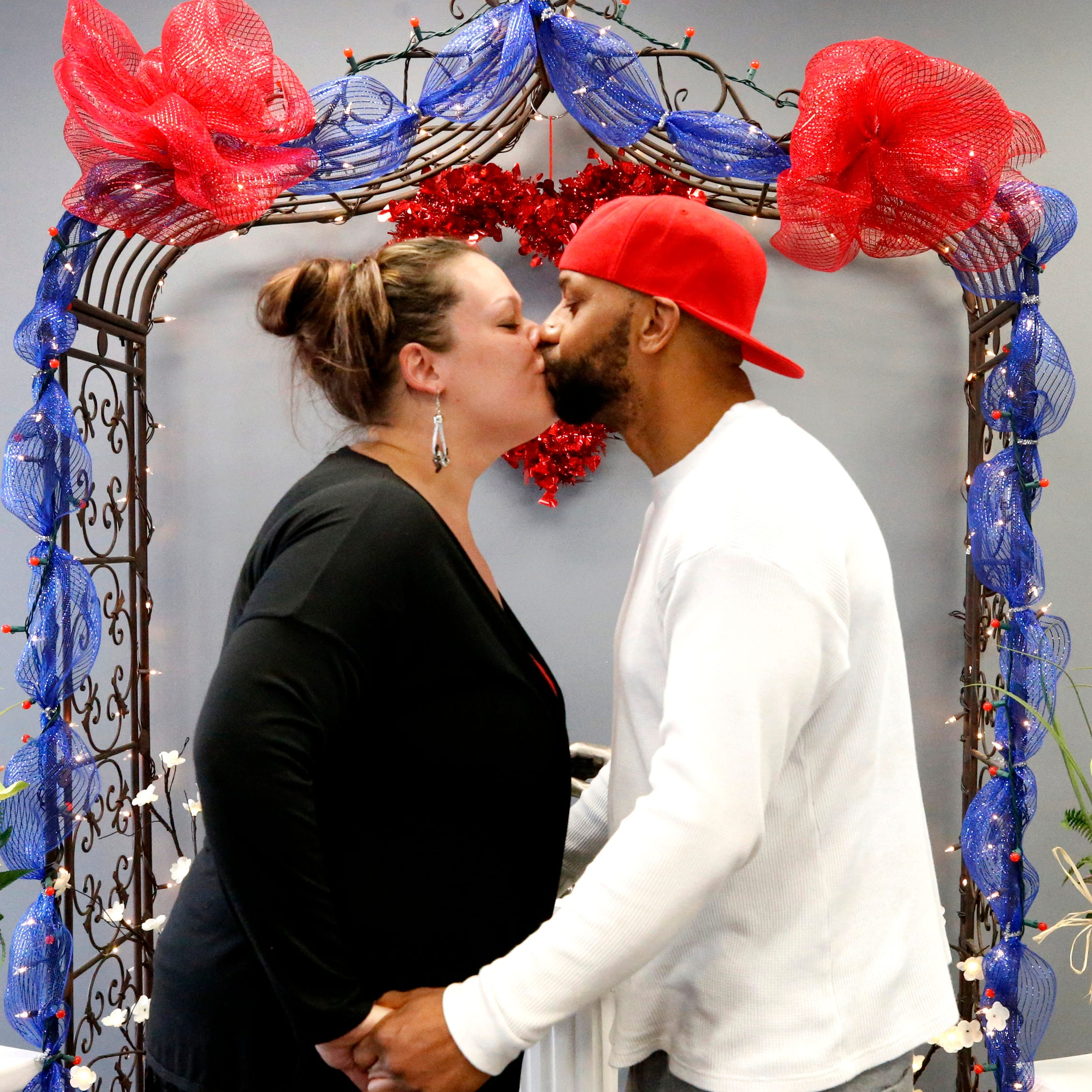 Valentine's Day ceremony: 'He can't forget our anniversary,' bride jokes
