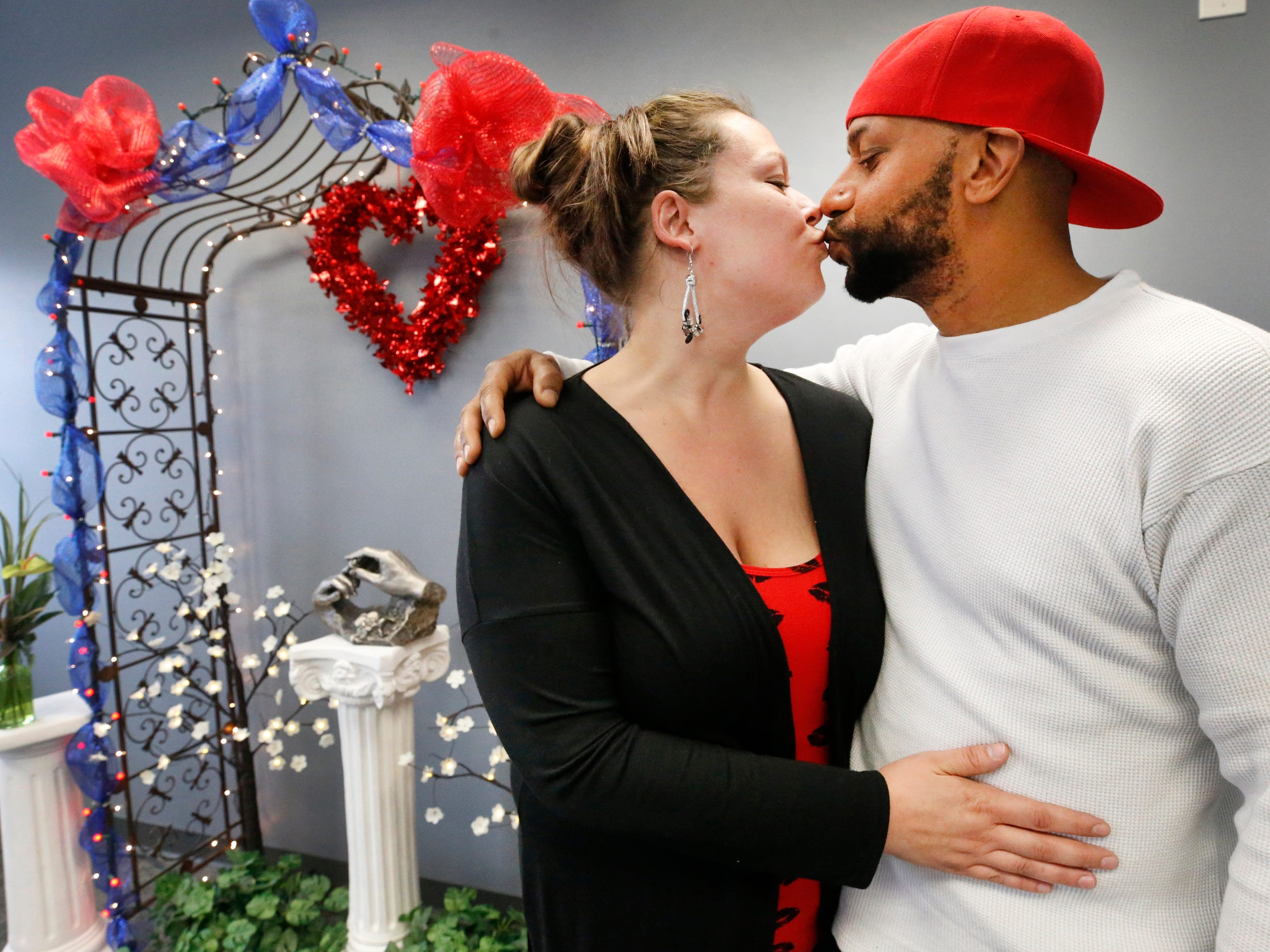 Kimberly (Ervin) Aiden and Shermaine Aiden kiss after they were married at the Marry Me of Tennessee Wedding Chapel, in Murfreesboro, on Valentine's Day on Thursday, Feb. 14, 2019.