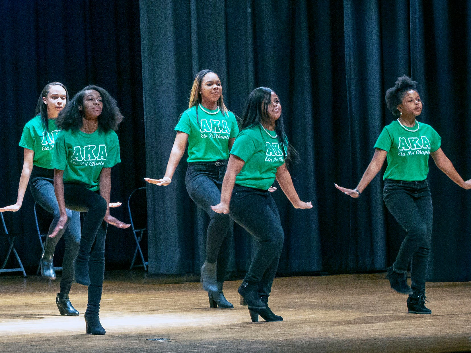 Members of the MTSU's Alpha Kappa Alpha sorority chapter  perform at the African-American Cultural Celebration held at Patterson Park Community Center.