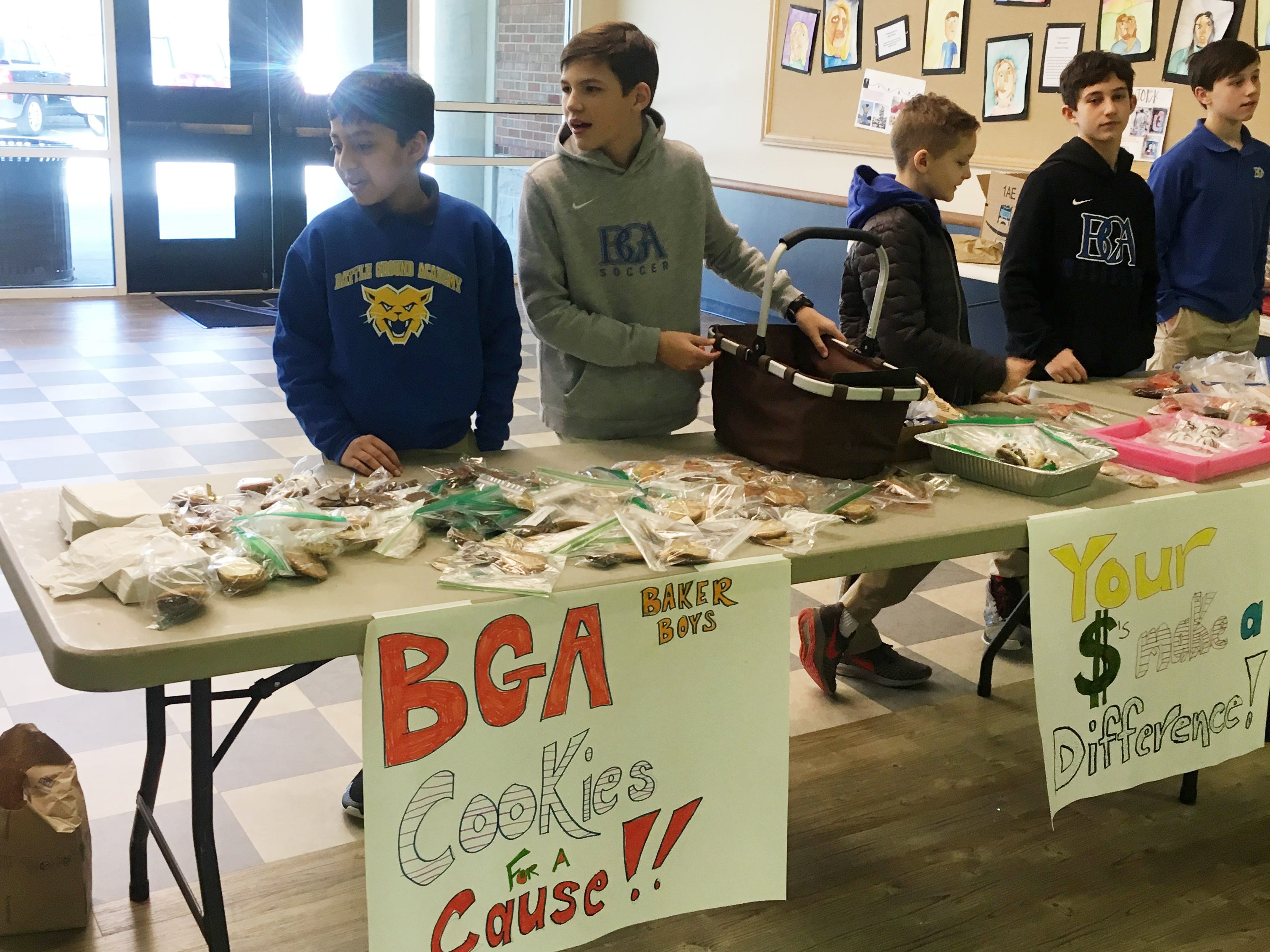 """""""Baker Boys for Cookies With a Cause"""" cookie bake sale...they collected $436.71. Left to right...Eyan Patel, Will Bauer, Chase Pappas, Zach Kenyon, and Henry Holt."""