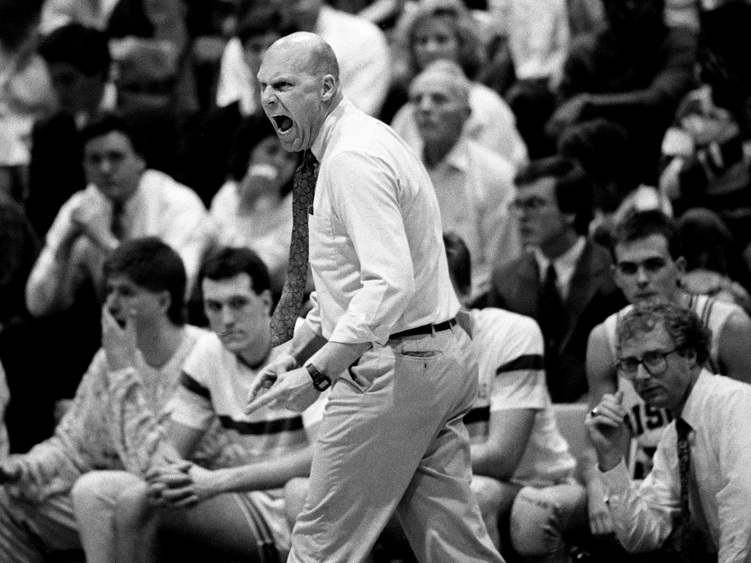 David Lipscomb head coach Don Meyer gets on his players as the nation's No. 1-ranked NAIA team defeated Christian Brothers of Memphis 103-91 before 3,300 at McQuiddy Gym on Feb. 2, 1989, to extend its winning streak to 31 games.