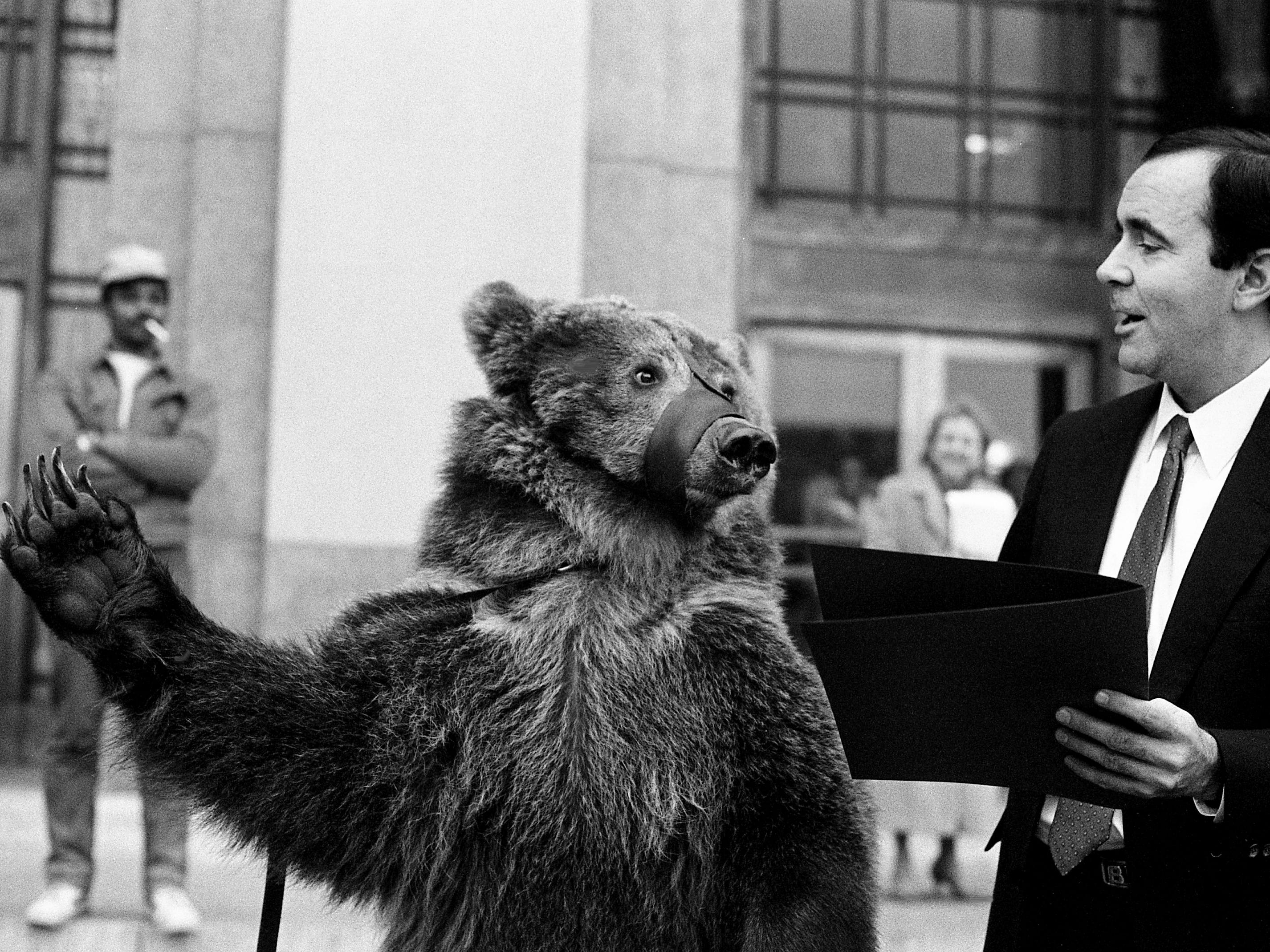 Metro Mayor Bill Boner has been slapped around a lot in the last year, but that was nothing compared to his treatment by Emma the bear, a representative of the Shoney's Circus, as she receives a proclamation from the mayor in front of the Metro Courthouse on Feb. 21, 1989.