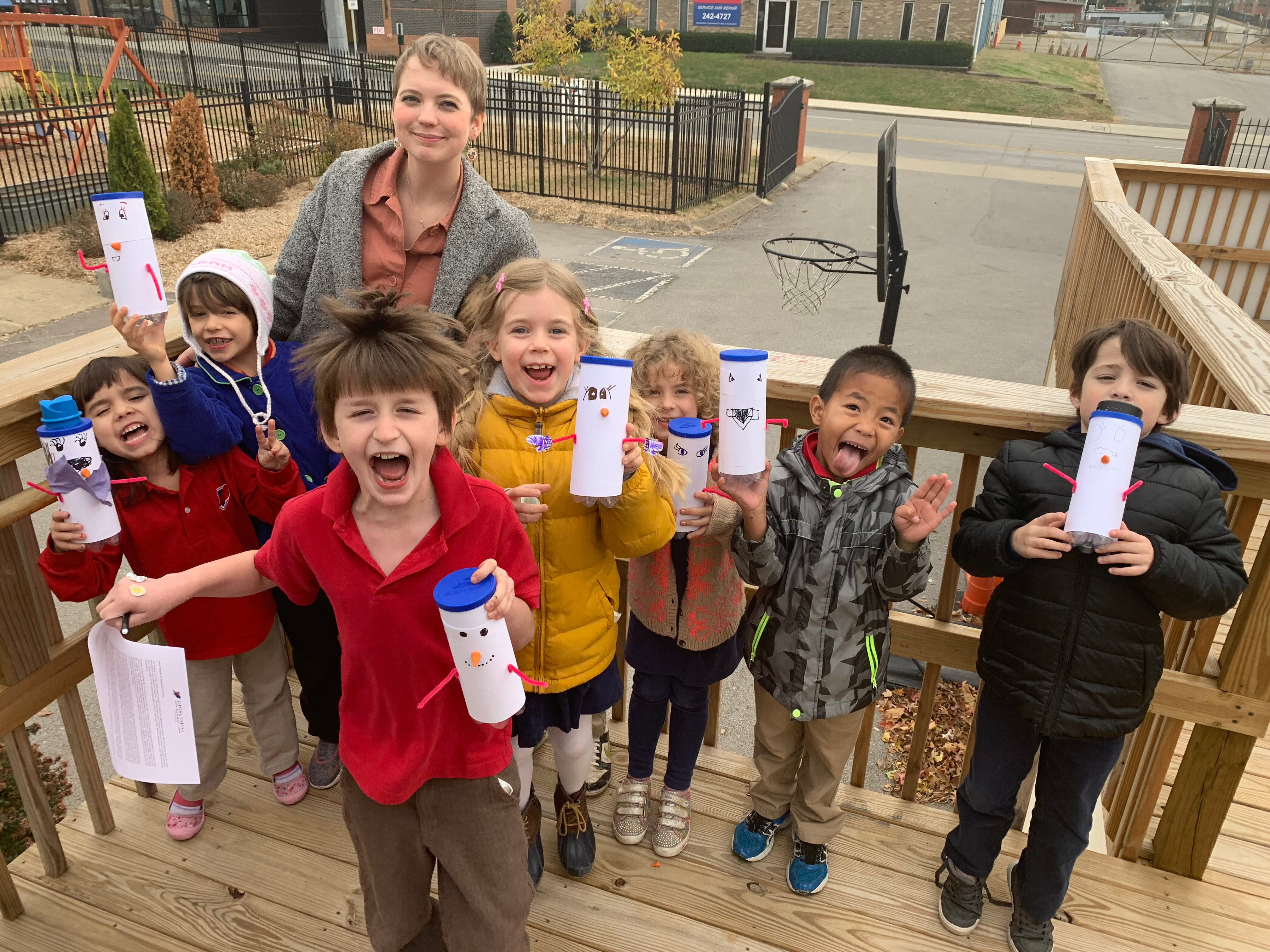 Students at the Episcopal School of Nashville made snowman containers to collect money for the Penny Drive.