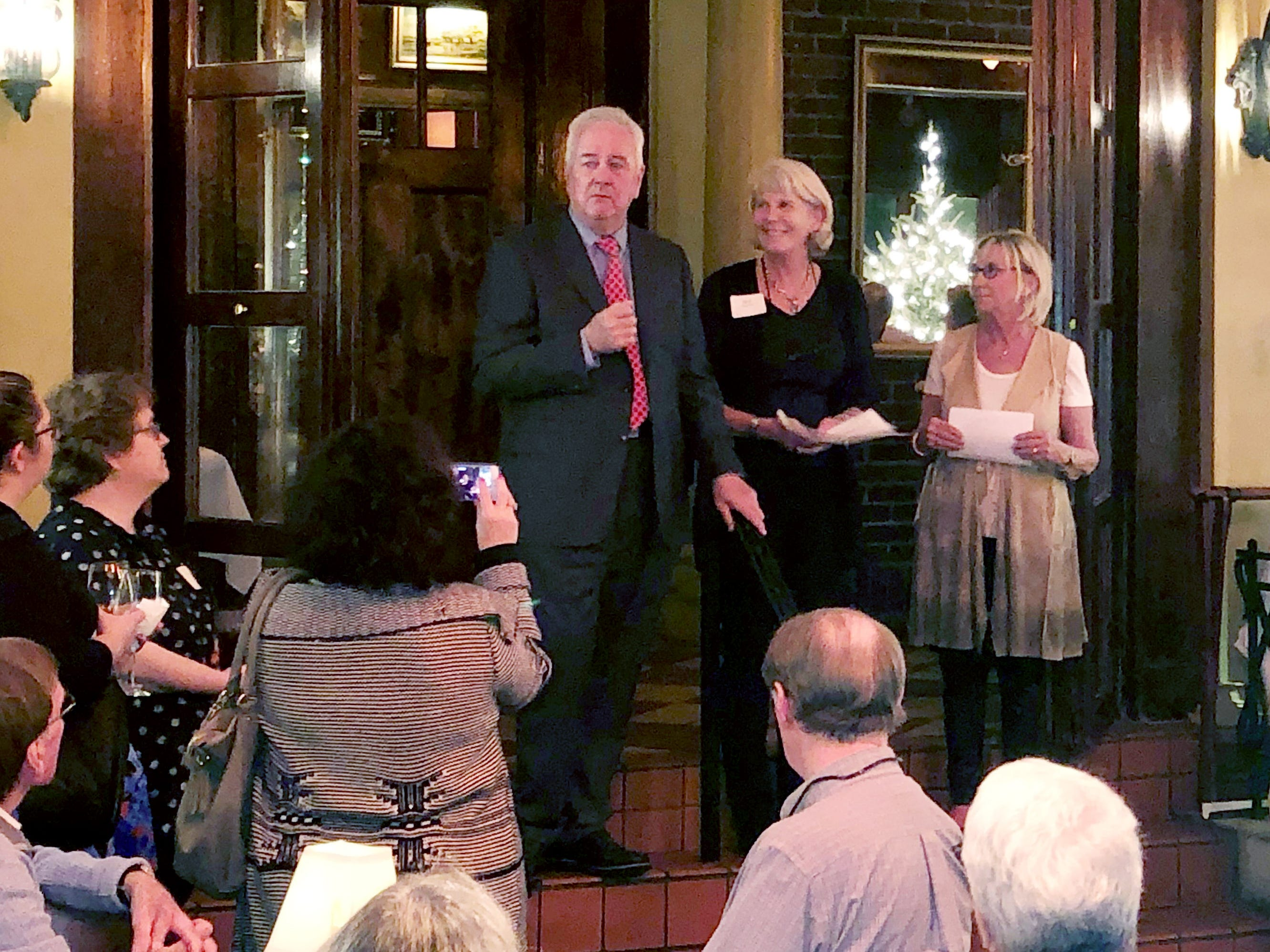 Jimmy Kelly's Steakhouse owner Mike Kelly hosted the wrap-up dinner for the Ms. Cheap Penny Drive. Kelly, Mary Hance and Second Harvest CEO Jaynee Day announce that the drive raised more than $100,000 for the food bank this year.