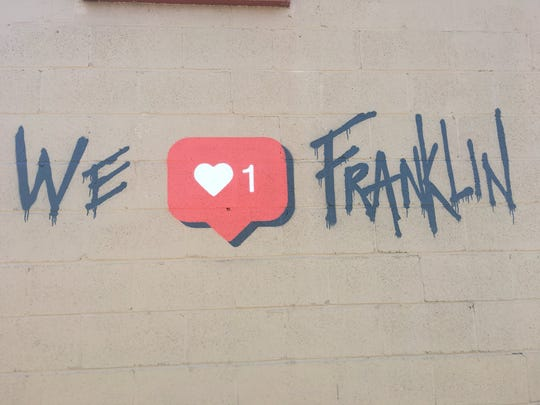 The new mural with an Instagram heart  by the artist Forbecks appeared in Franklin in early February.