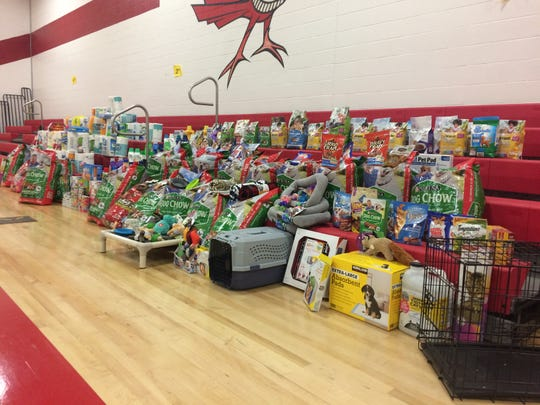 Kingston Springs Elementary School Counselor Laura Deer suggested a drive to collect items to donate to the Cheatham County Animal Control shelter in Pegram. Students collected dog and cat food, beds, toys and more. Linda Allen's third-grade class brought in the most donations.