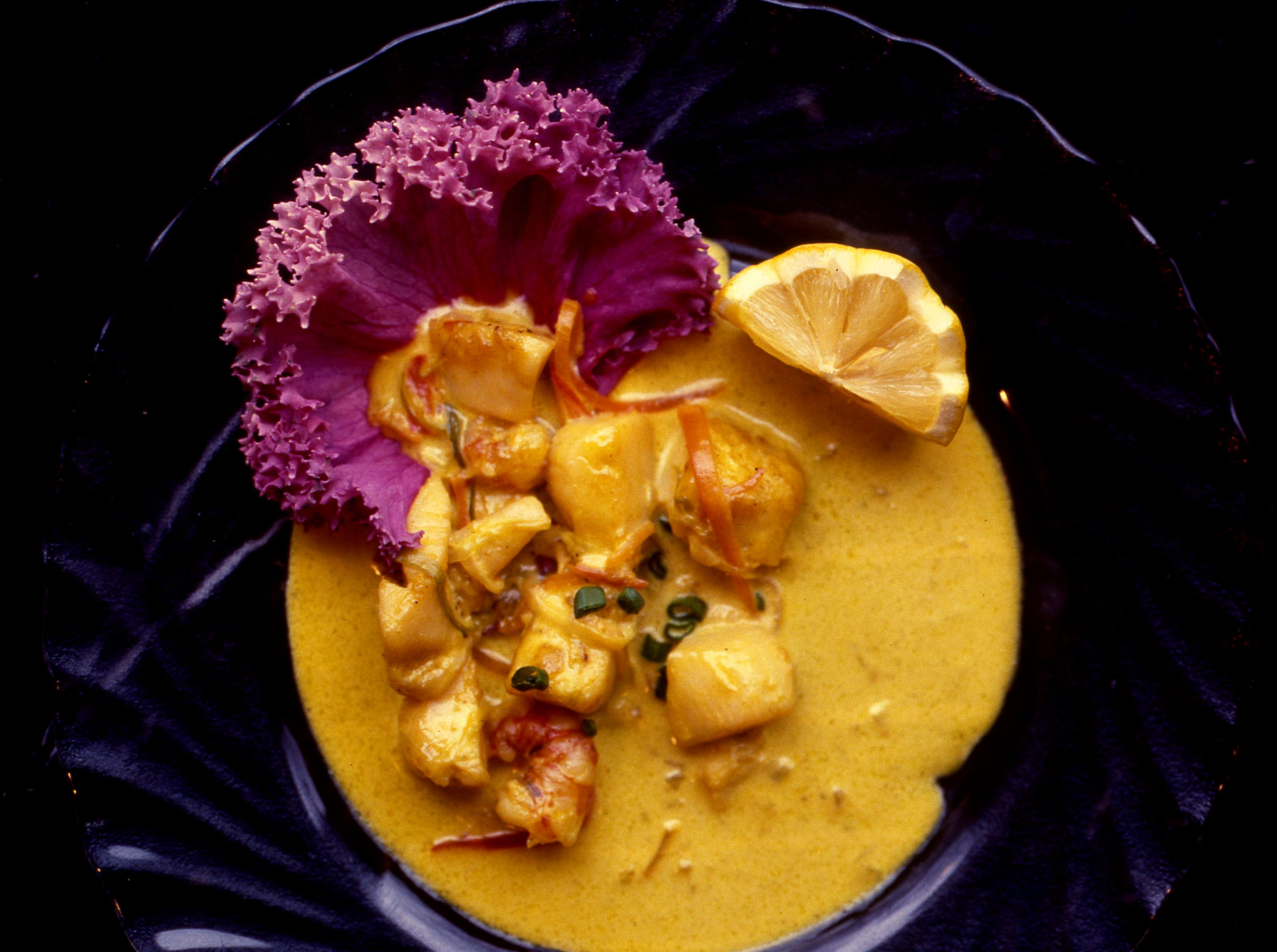 Hyatt Regency chef Curtis Benson's Cajun Scallop and Shrimp Appetizer, winner of the local American Seafood Challenge sponsored by Robert Orr/Sysco at Vanderbilt University's Branscomb Hall on Feb. 4, 1989, is flavored with shallots, white wine and Paul Prudhomme's seasoning.