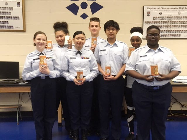 Maplewood High School ROTC cadets collected money for the Ms. Cheap Penny Drive.