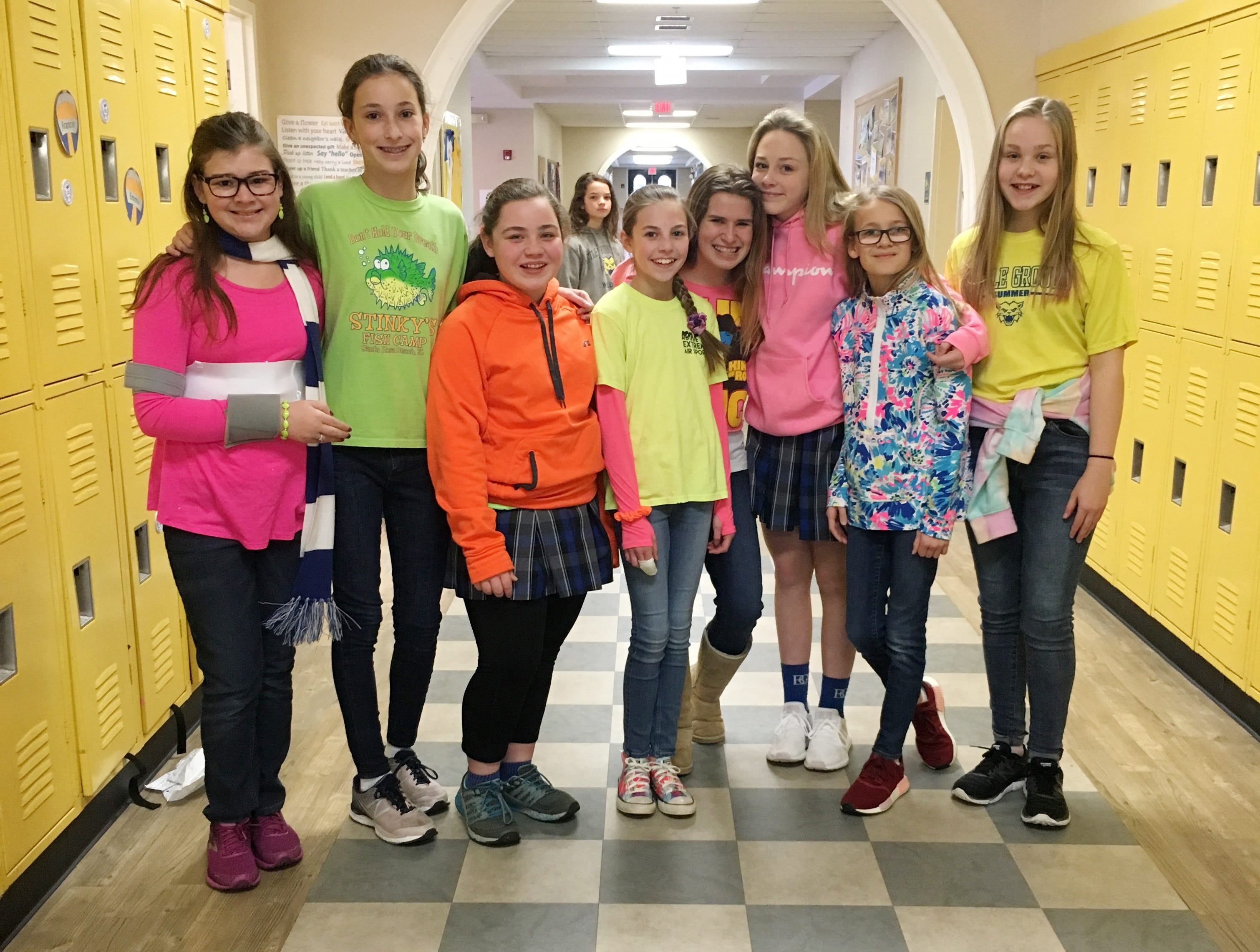 """""""Emma's Dollar Dress Down Days for the DRIVE (the Ms. Cheap Penny Drive, that is!)""""  - COLLECTED: $717.35. Proposed by Emma Kramer, who is in center in neon yellow shirt and pink sleeves on """"Nickels for Neon"""" day. Left to right...Maclaine Moore, Phoebe Lott, Evey Knopf, Emma Kramer, Isabella Besco, Caroline Pratt, Abby Binkley, and Mac Flowers."""