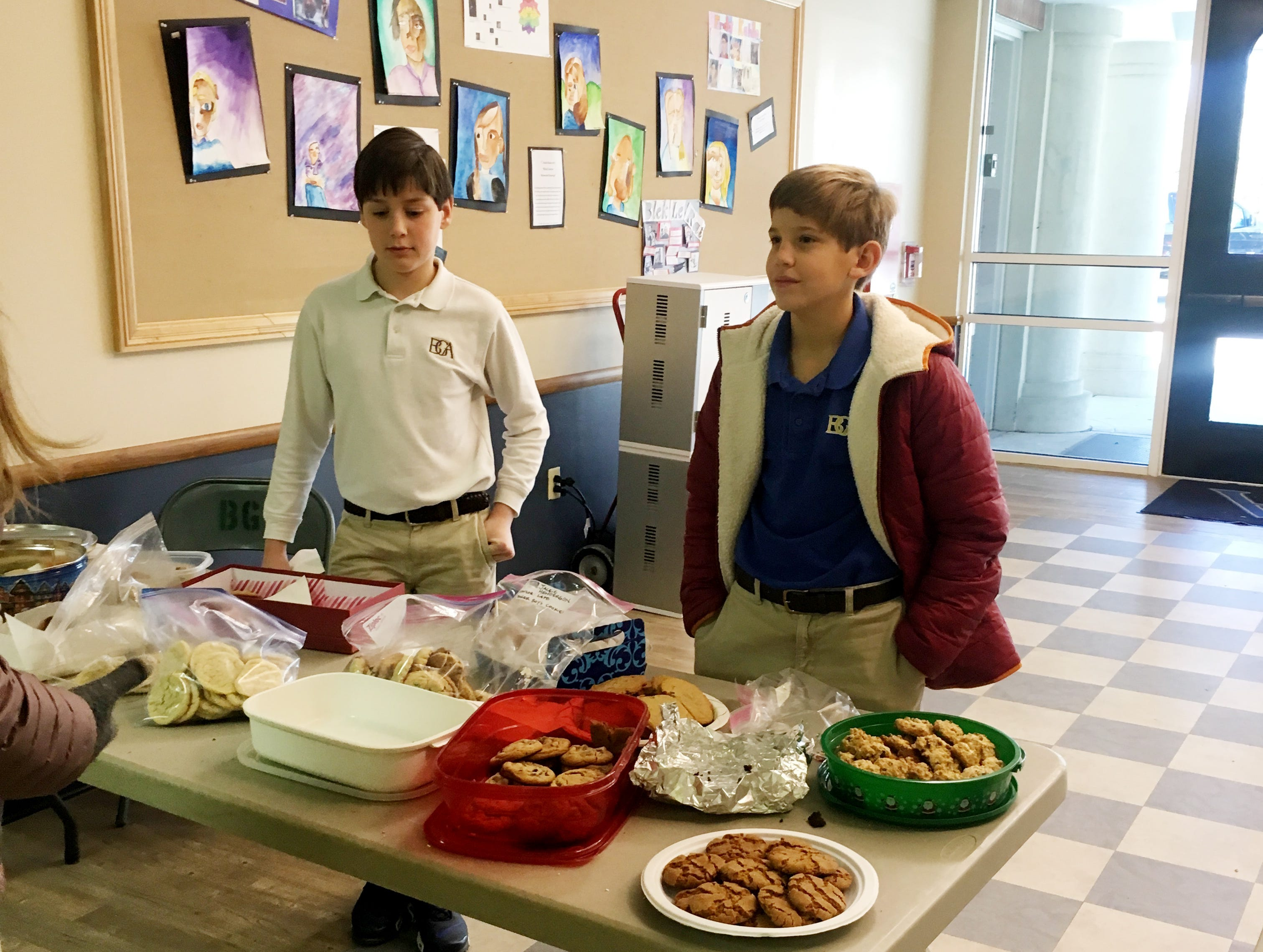 """""""Baker Boys for Cookies With a Cause"""" cookie bake sale...they collected $436.71. Jack Charles Headrick (left) and Austin Cheney (right)."""