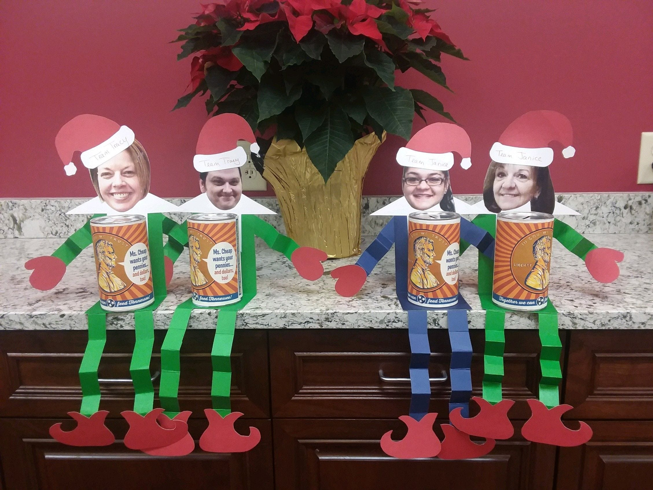 """Wilson Bank & Trust got creative, with teller """"elves on the shelf"""" as part of the bank's support of the Ms. Cheap Penny Drive."""