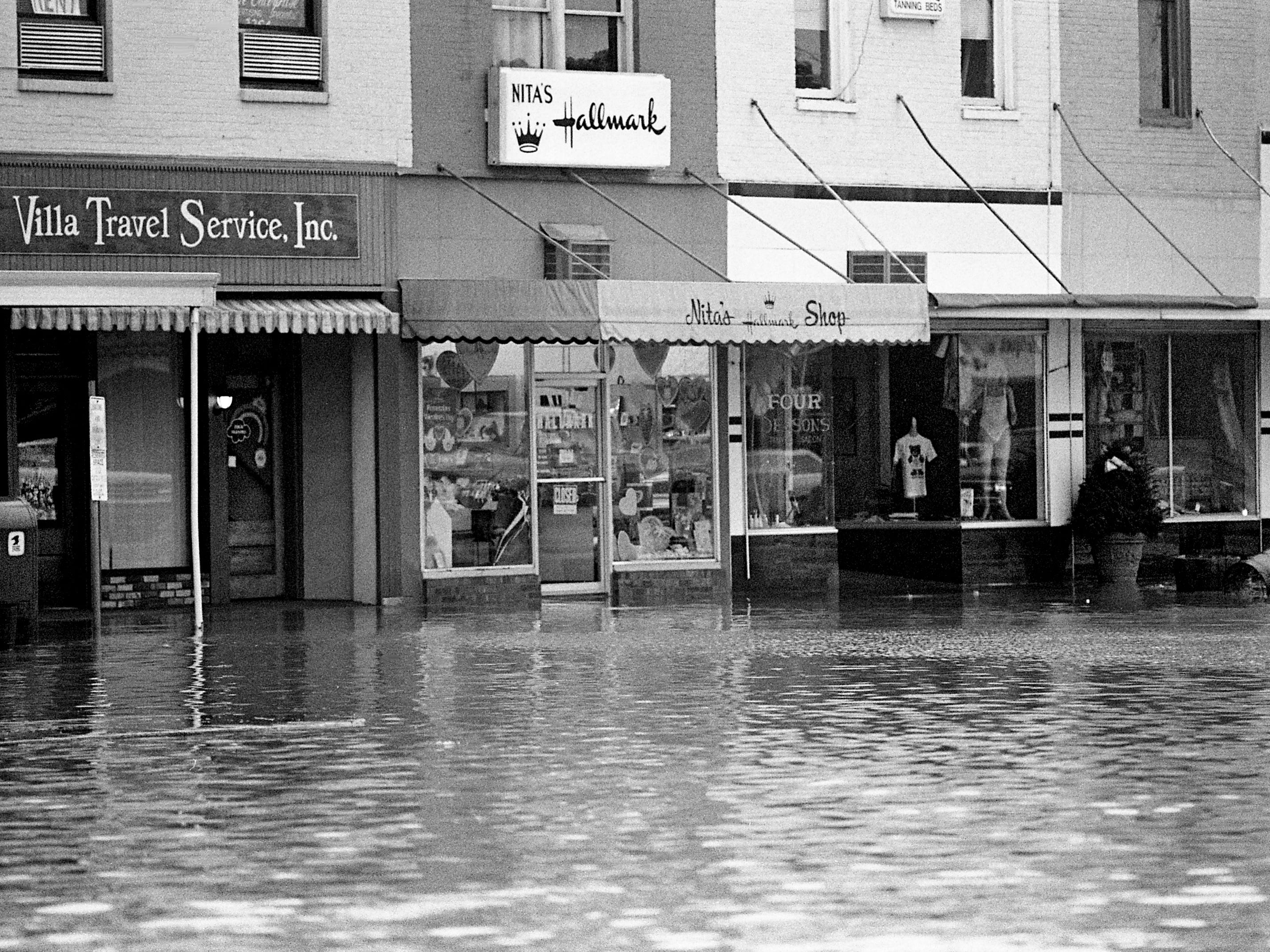 Businesses on the city square in Lebanon are flooded Feb. 14, 1989, after a storm dumped nearly 6 inches of rain on Wilson County.