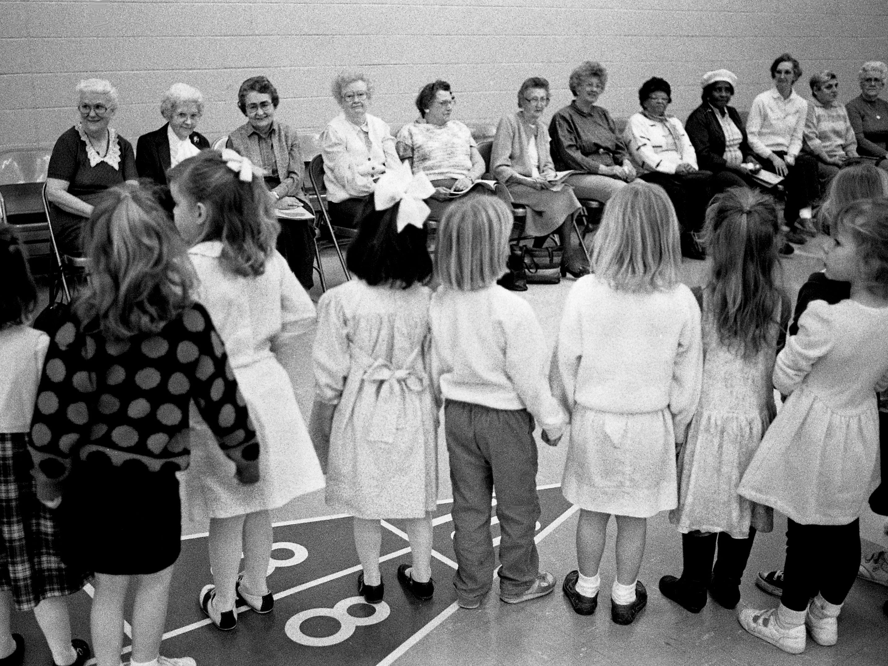 Students from The Ensworth School line up along with a group of senior citizens at the J. B. Knowles Center on Feb. 13, 1989, for a Valentine's party.