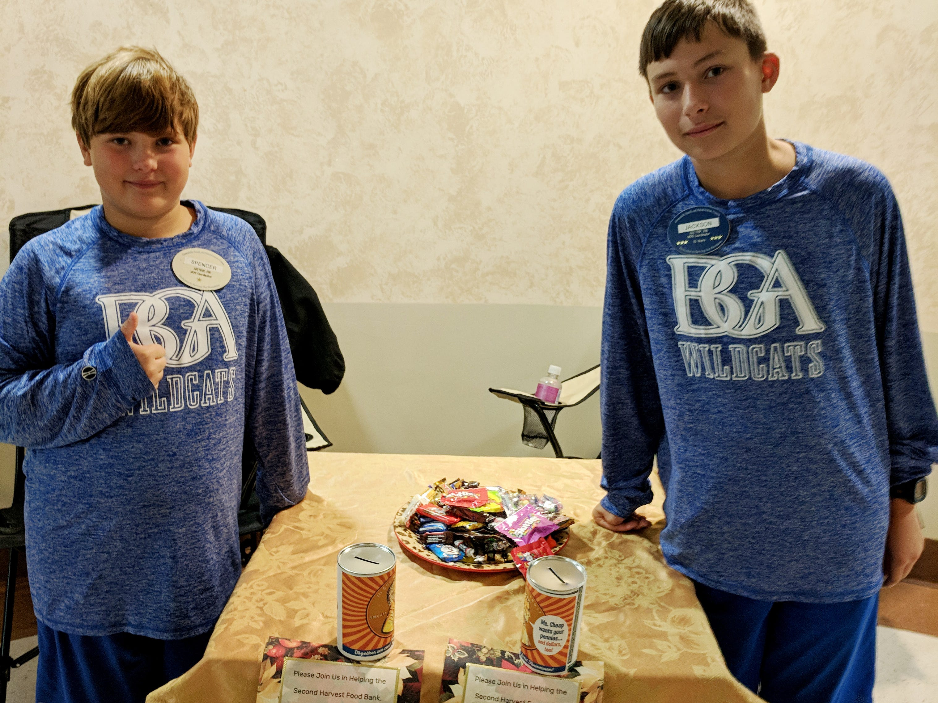 Brothers Spencer Artrip (left) and Jackson Artrip (right) took their Halloween candy to their mom's office (Green Hills Health and Rehabilitation). People could get some candy for donations. They collected $55.91!