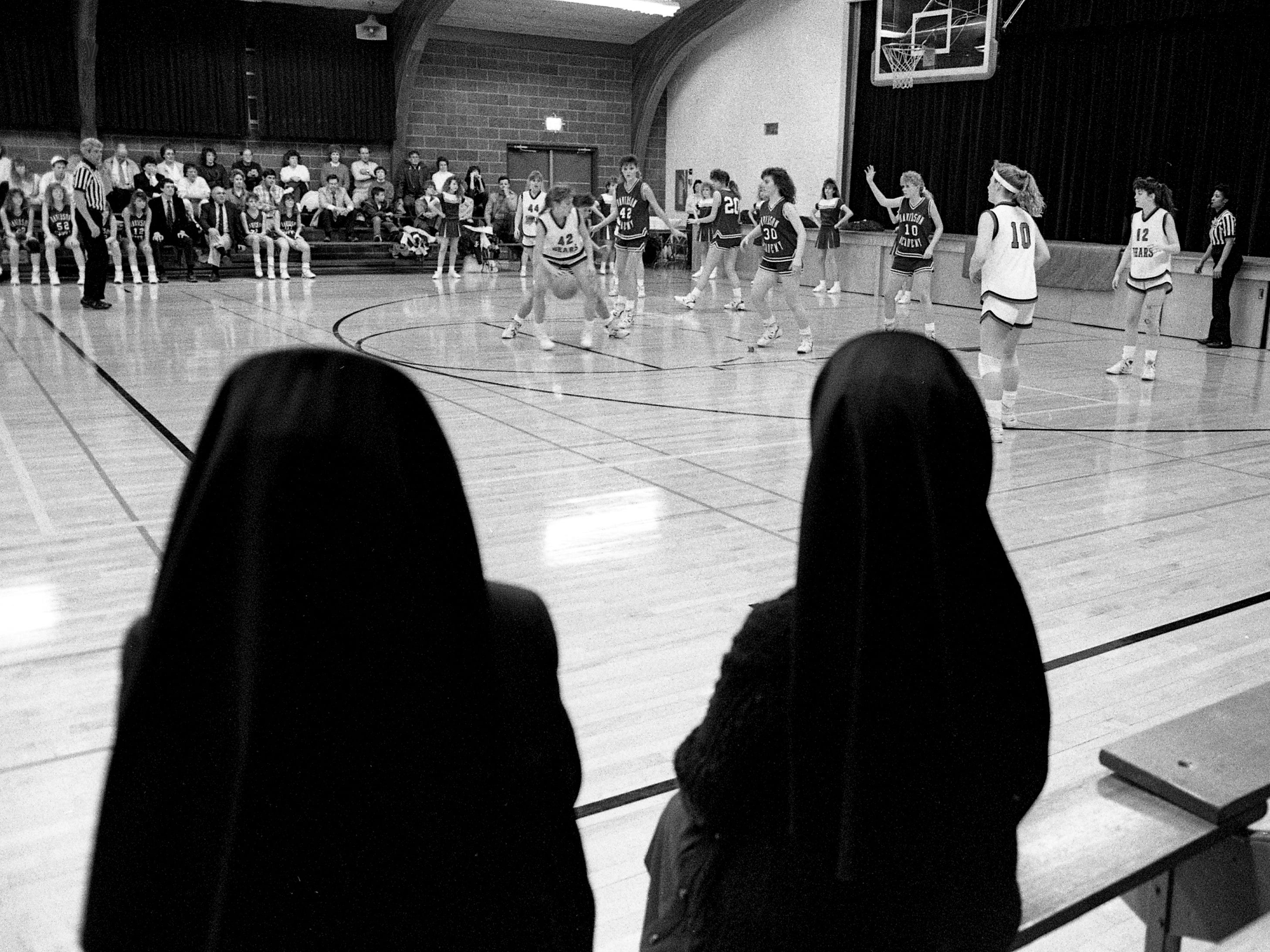 A couple of nuns who teach at St. Bernard Academy were part of a crowd of 75 fans who watched the action against Davidson Academy on Feb. 14, 1989, in the final game ever for St. Bernard, which will close its doors this spring.