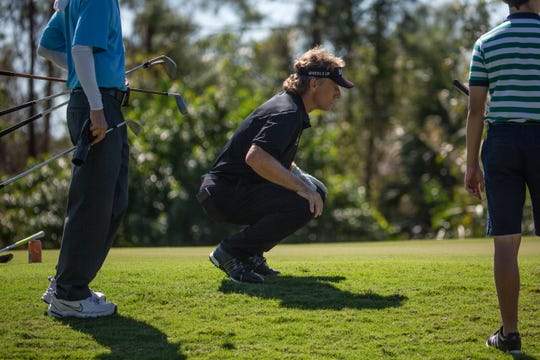 Bernhard Langer watches a putt on the second day of the Chubb Classic Pro-Am at The Classics Country Club in Lely Resort in Naples on February 14, 2019.