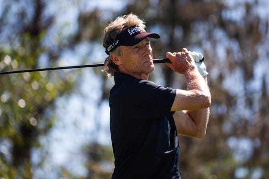 Bernhard Langer watches his ball on the second day of the Chubb Classic Pro-Am at The Classics Country Club in Lely Resort on Thursday. Langer, who has won 39 times on the PGA Tour Champions, has three of those victories in Naples and won last week in Boca Raton.