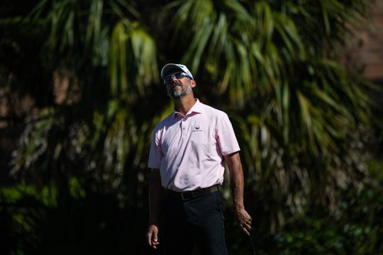 Tommy Tolles, from Fort Myers, reacts to his putt on the second day of the Chubb Classic Pro-Am at The Classics Country Club on Thursday.