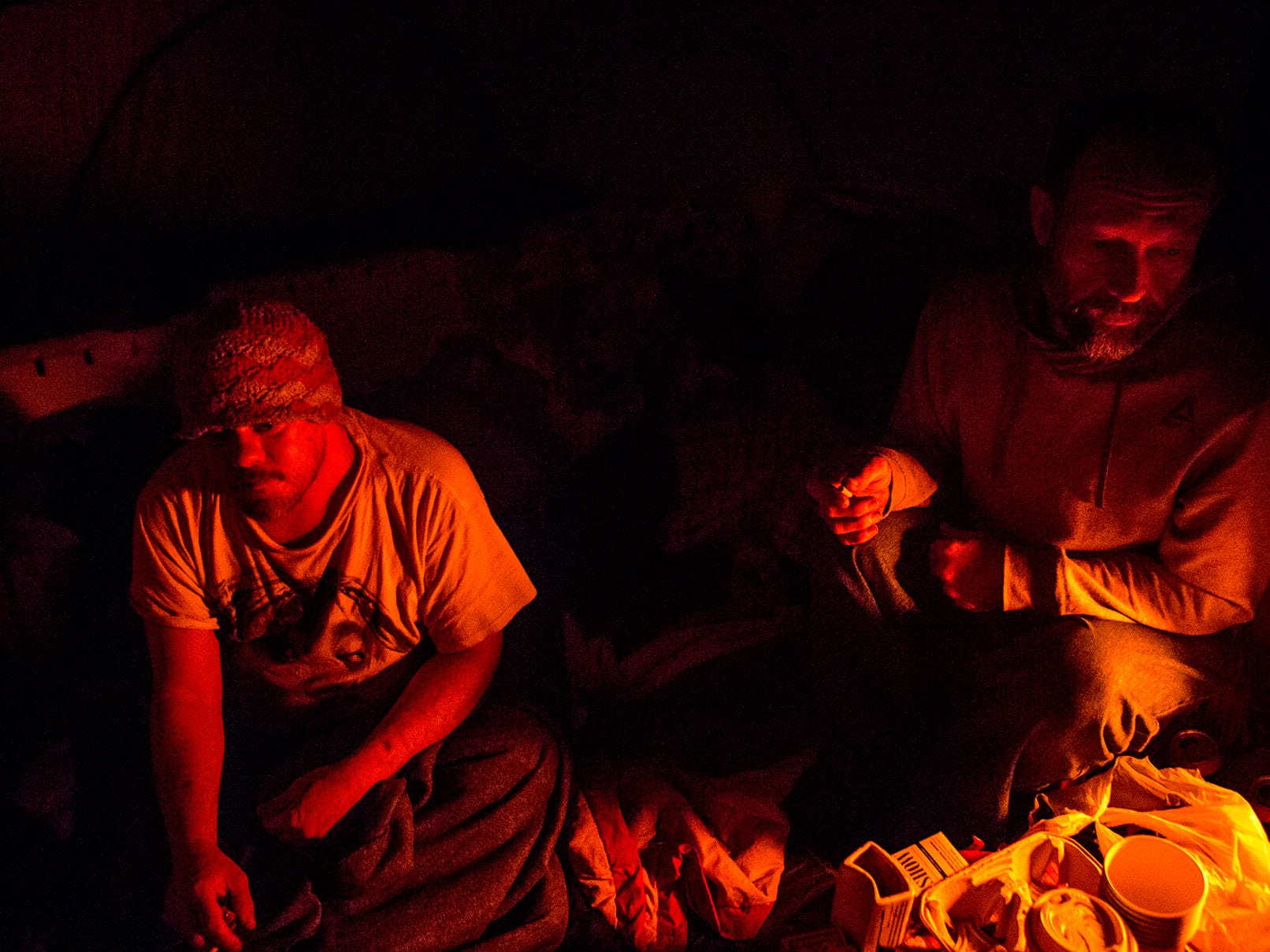 Bob and Justin in their tent, Jan. 30, 2019. Temperatures were below 0 but the two, and their tent-mates all refused to go into warming shelters because they did not want to leave their dogs behind. Instead they hunkered down with sleeping bags and a propane heater running all night to survive the cold.