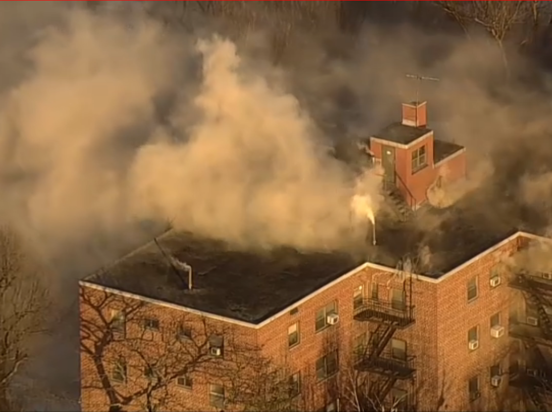 A fire burns at a Fort Lee apartment building on Feb. 14, 2019.