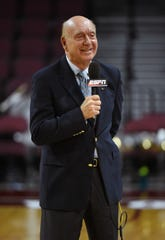 Sportscaster Dick Vitale broadcasts before the championship game of the West Coast Conference Basketball Tournament between the Saint Mary's Gaels and the Gonzaga Bulldogs at the Orleans Arena on March 7, 2017 in Las Vegas, Nevada. Gonzaga won 74-56.