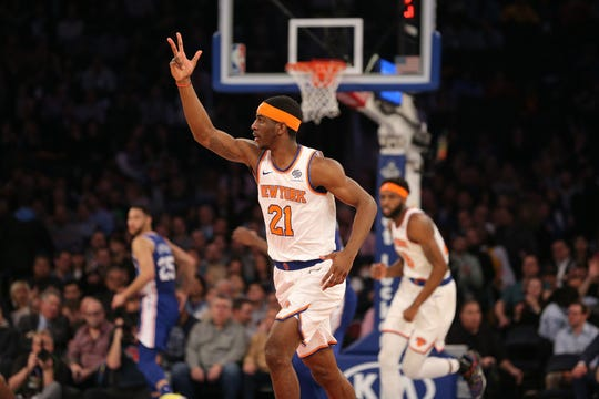 New York Knicks guard Damyean Dotson (21) reacts after scoring against the Philadelphia 76ers during the second quarter at Madison Square Garden.